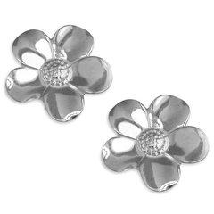 Sterling Silver Large Petal Flower Studs