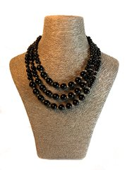 Black Obsidian and Stirling Silver Triple Strand Necklace