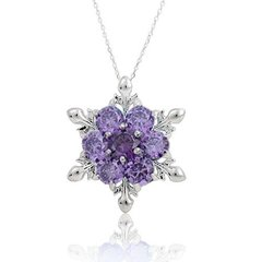 Silver Rhinestone Snowdrop Pendant (Purple)