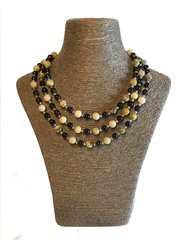 Green and Black Obsidian Triple Strand Necklace