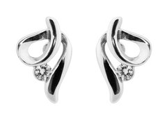 Sterling Silver Swirl Cubic Zirconia Earrings
