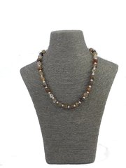 Handmade Glass and Cultured Pearl Necklace