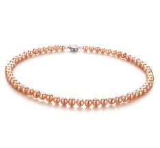 Peach Pearl Single Strand Necklace