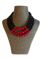 Triple Strand Red and Black Necklace