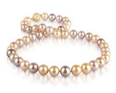 Pearl Necklace with Lilac, Peach and White Overtones