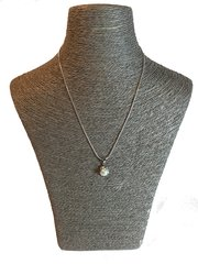 White Pearl Pendant with Silver Chain