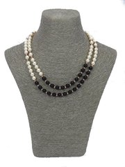 Double Strand Swarovski and Black Agate Necklace