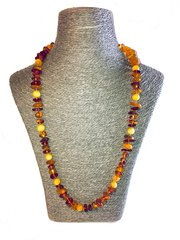 Handmae Amber Necklace Knotted in Silk