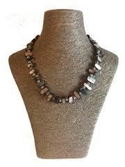 Handmade Mother of Pearl Necklace ( Blue and Silver )