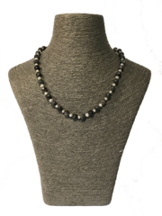 Handmade Grey Stone and Cultured Pearl Necklace