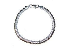 Silver Bracelet Curved Link Design