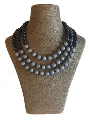 Lapis Lazuli and Angelite Triple Strand Necklace