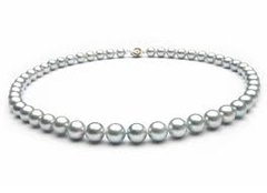 Pearl Necklace with Silver Overtones