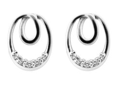 Sterling Silver Earrings Cubic Zirconia Eternal Loop