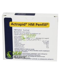 Actrapid HM PENFILL 100 IU 3 ML 5