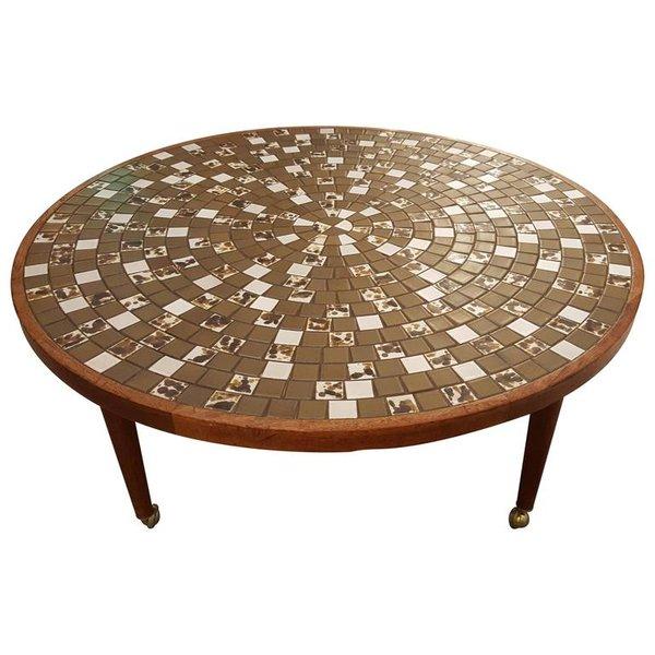 Broken Tile Coffee Table: Gordon & Jane Martz Mosaic Tile Circular Coffee Table