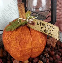 Happy Fall - Small Rusty Orange Pumpkin
