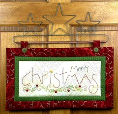 Merry Christmas Quilted Stitchery Wall Hanging