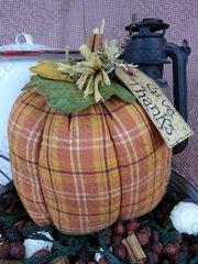 Give Thanks - Large Plaid Pumpkin