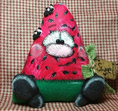 Sweet Slice of Summer Watermelon Finished Handmade Primitive Doll