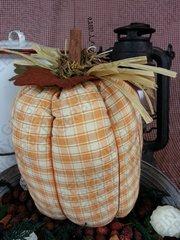 Happy Fall - Medium Tall Plaid Pumpkin