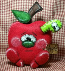 Food For Thought Apple and Worm Finished Handmade OOAK Primitive Doll