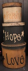 Faith, Hope, Love Stacking Boxes