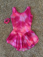 Used Figure Skating Dress GK Elite Pink Tye Dye Adult Medium