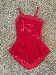 Used Figure Skating Dress GK Elite Scarlet Red Adult Medium