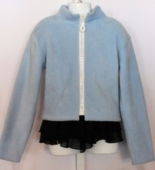 Figure Skating Jacket Baby Blue Rhinestone Zipper Youth 10