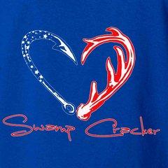 Hook Horn Heart American Made USA Swamp Cracker Patriotic T-shirt