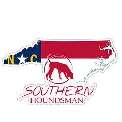 "8"" North Carolina Flag Southern Houndsman Logo Sticker"