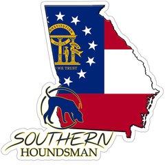 "8"" Georgia Flag Southern Houndsman Logo Sticker"