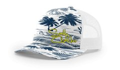 Salty Cracker Navy/White/Yellow Palms Snap back Mesh Cap