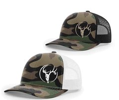 Swamp Cracker Old School Camo Deer Skull Mesh Snapback Cap
