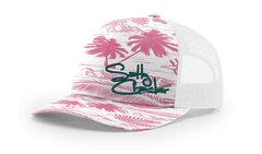 Salty Cracker Pink/White/Teal Palms Snap back Mesh Cap