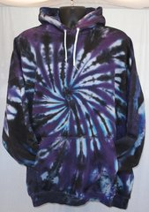Purple and Black Spiral Adult Hooded Sweatshirt