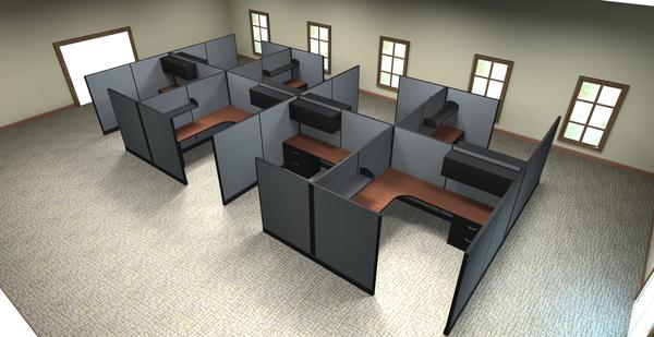 "8 x8 cubicles 67""H panels 8 pack OKC fice Furniture"