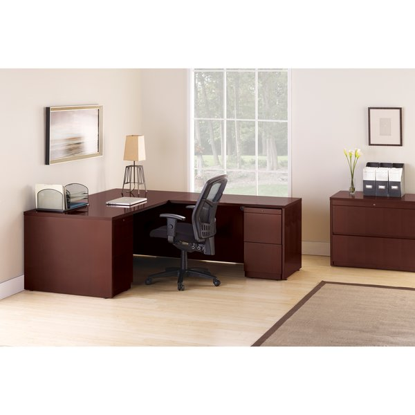 Lorell Sao Paulo Series L Shaped Desk Real Wood Okc