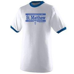 Augusta #710 Ringer Adult Short Sleeve (White/Royal) T-Shirt