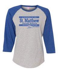 Ladies LAT #3530 Raglan Sleeve Baseball (Heather/Royal) T-Shirt
