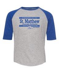 Youth Size LAT #6130 Raglan Sleeve (Heather/Royal) Baseball T-Shirt