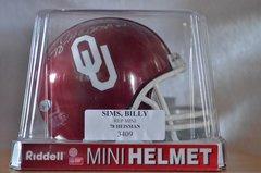 Hidden Treasures Autographed Mini Helmet Billy Sims Oklahoma U
