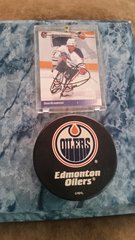 NHL Autographed Mounted Card & Puck Dean McAmmond Edmonton Oilers