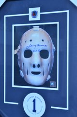 "NHL Framed Autographed Johnny Bower ""Mask"" with COA"
