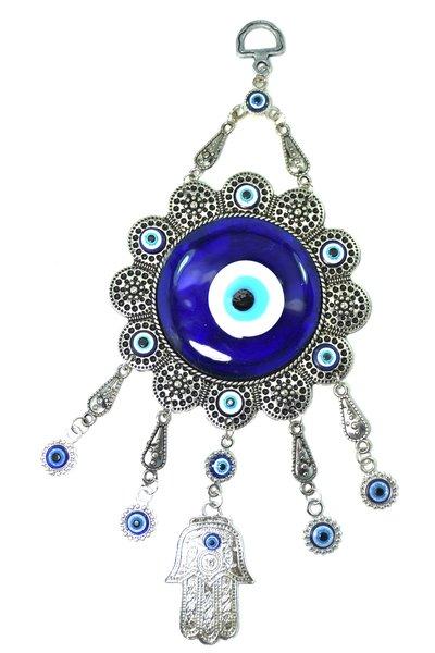 Turkish Blue Evil Eye Nazar Flower Hamsa Hand Amulet
