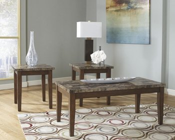 Ashley Furniture Theo Series 3 Piece Faux Marble Coffee And End Table Set