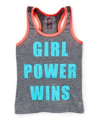 GIRL POWER WINS GRAY SPORT TANK WITH MESH BACK DETAIL