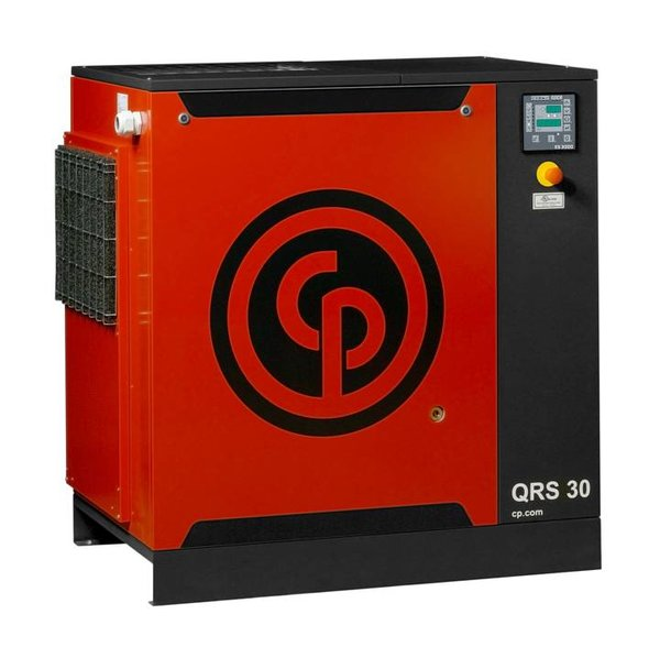 30 HP, CHICAGO PNEUMATIC ROTARY SCREW AIR COMPRESSOR BASE MOUNT, 208/230/460/3/60, QRS 30 HP