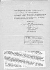 SS Gruppenfuhrer Otto Hofmann signed letter